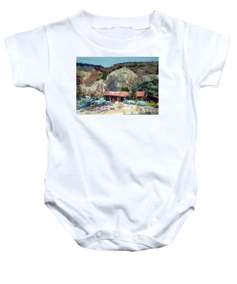 New Mexico Baby Onesie featuring the painting Espanola On The Rio Grande by Donald Maier