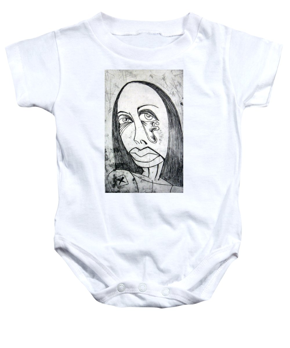 Girl Baby Onesie featuring the print Etching by Thomas Valentine