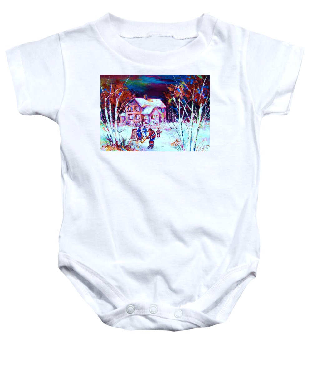 Hockey Game In The Country Baby Onesie featuring the painting Evening Game At The Chalet by Carole Spandau