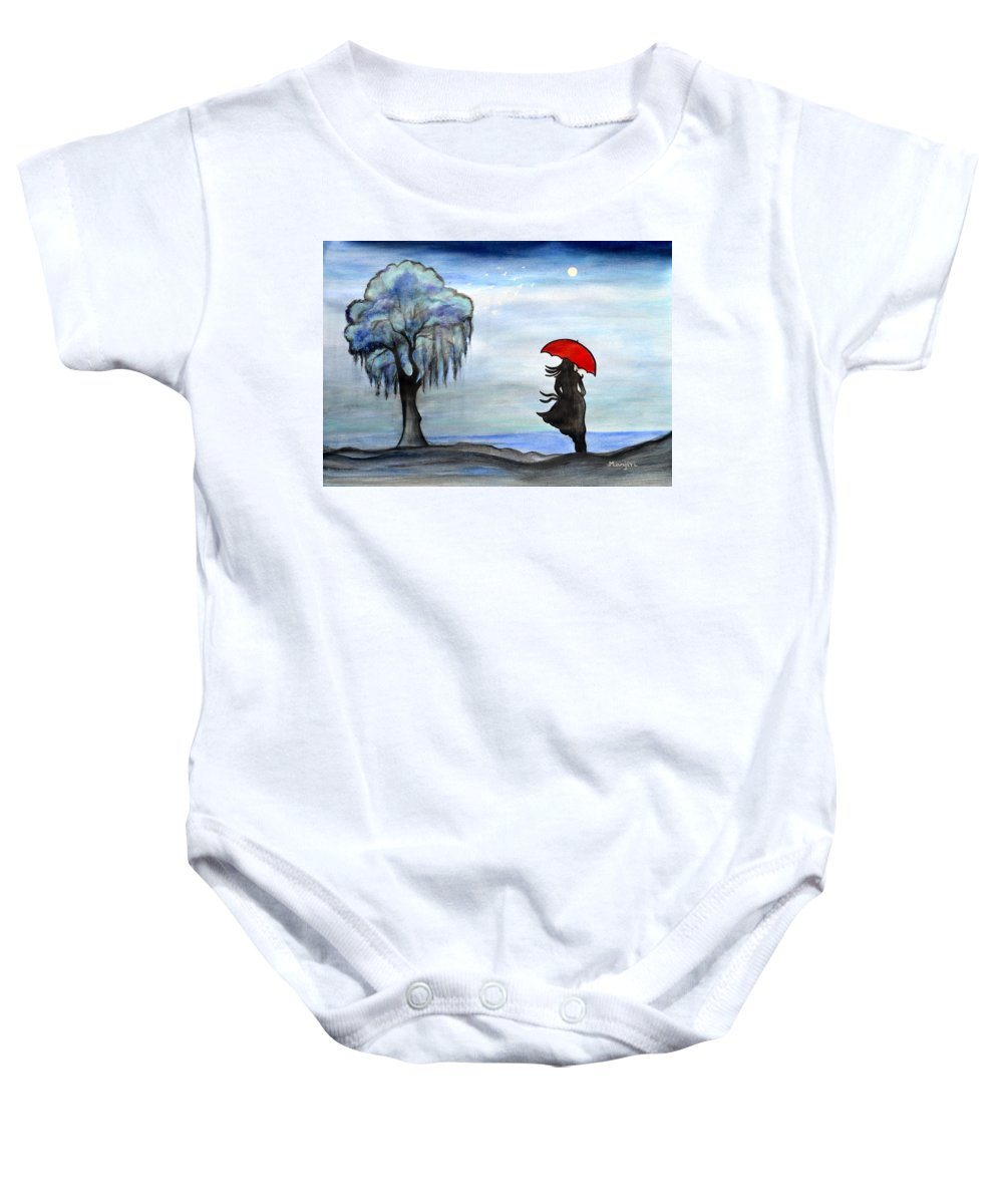Evening Baby Onesie featuring the painting Evening Walk by Manjiri Kanvinde