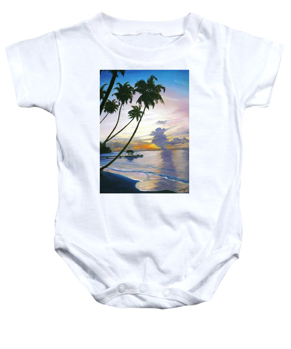 Ocean Painting Seascape Painting Beach Painting Sunset Painting Tropical Painting Tropical Painting Palm Tree Painting Tobago Painting Caribbean Painting Original Oil Of The Sun Setting Over Pigeon Point Tobago Baby Onesie featuring the painting Eventide Tobago by Karin Dawn Kelshall- Best