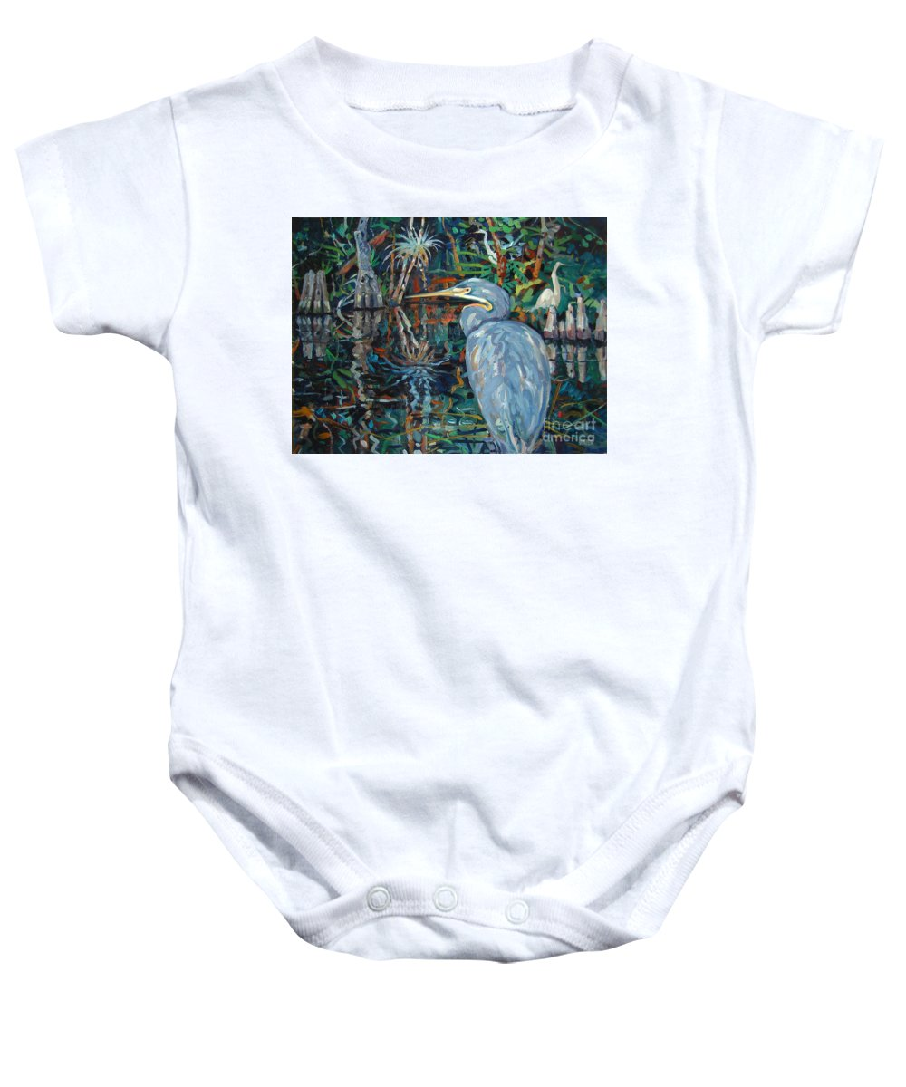 Blue Herron Baby Onesie featuring the painting Everglades by Donald Maier
