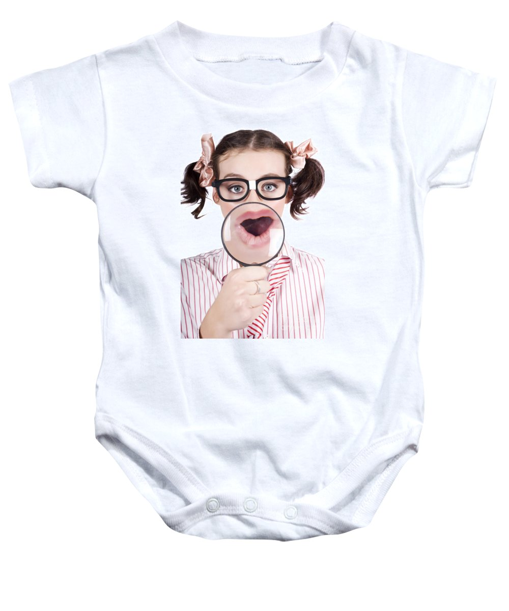 Adolescence Baby Onesie featuring the photograph Excited Nerd Girl With A Big Idea by Jorgo Photography - Wall Art Gallery