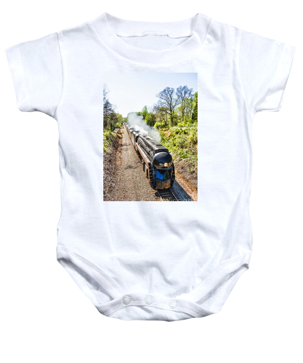 Train Baby Onesie featuring the photograph Excursion 611 by Rebecca Raybon
