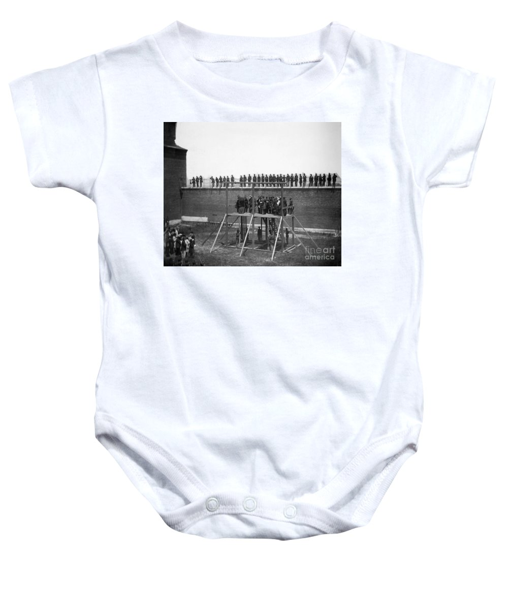 1865 Baby Onesie featuring the photograph Execution Of Conspirators by Granger