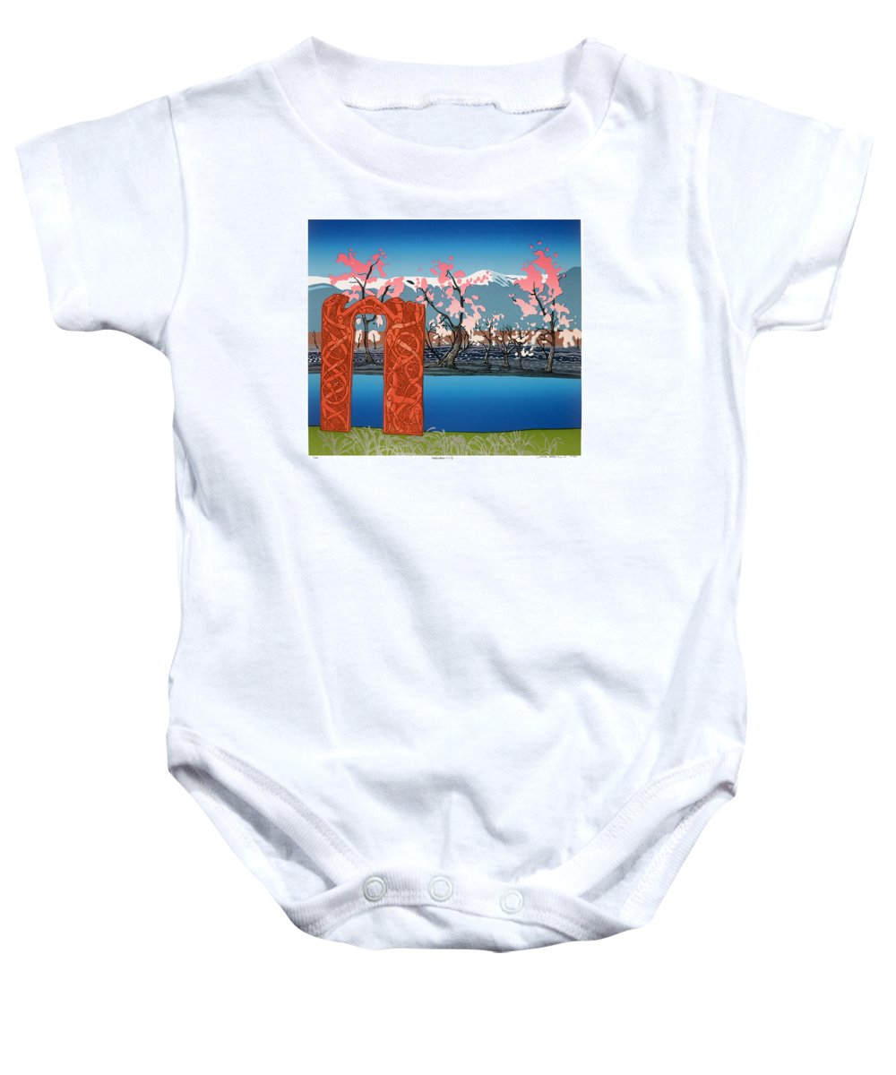 Landscape Baby Onesie featuring the mixed media Exploration. by Jarle Rosseland