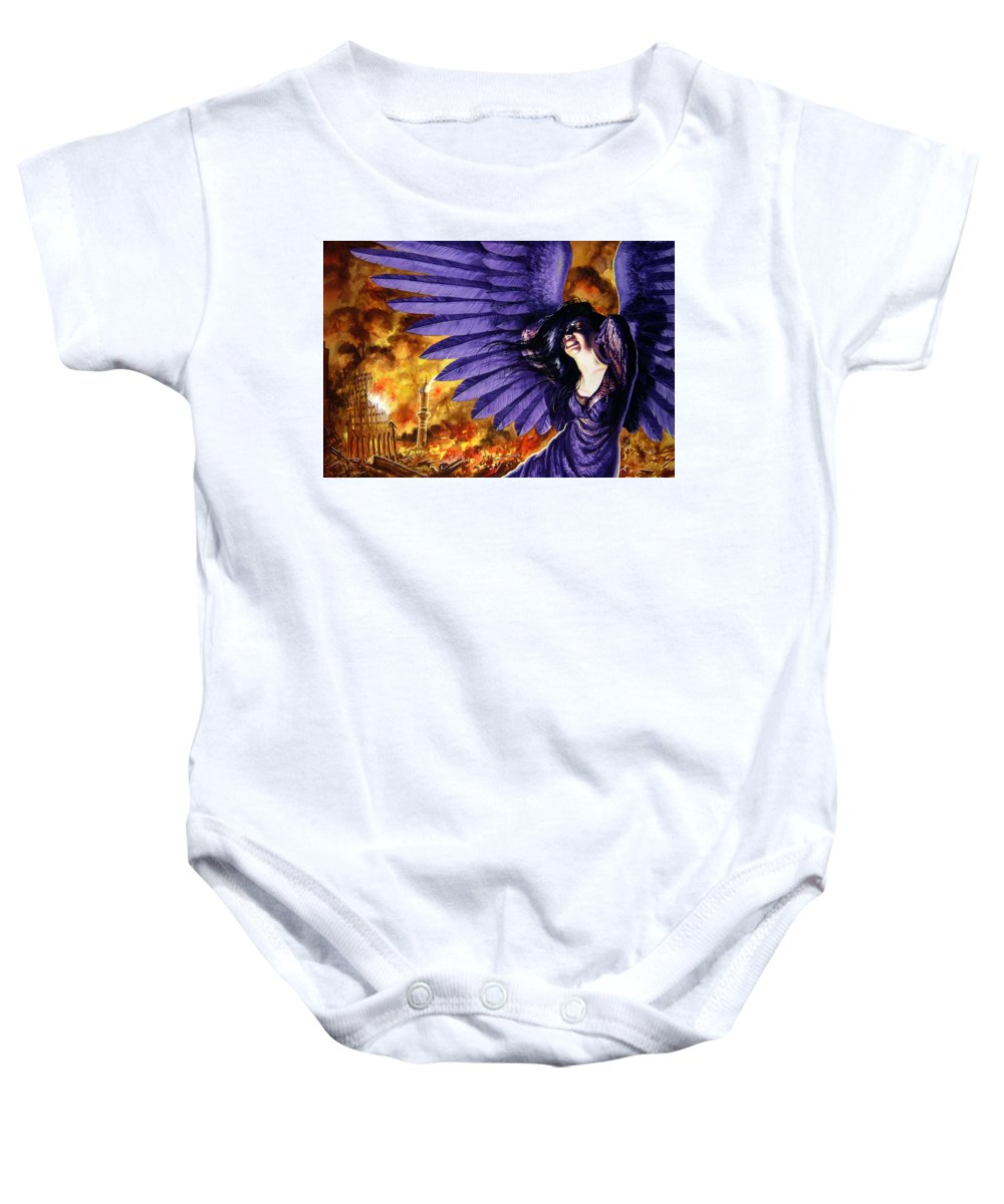Political Commentary Baby Onesie featuring the painting Eye For An Eye by Ken Meyer
