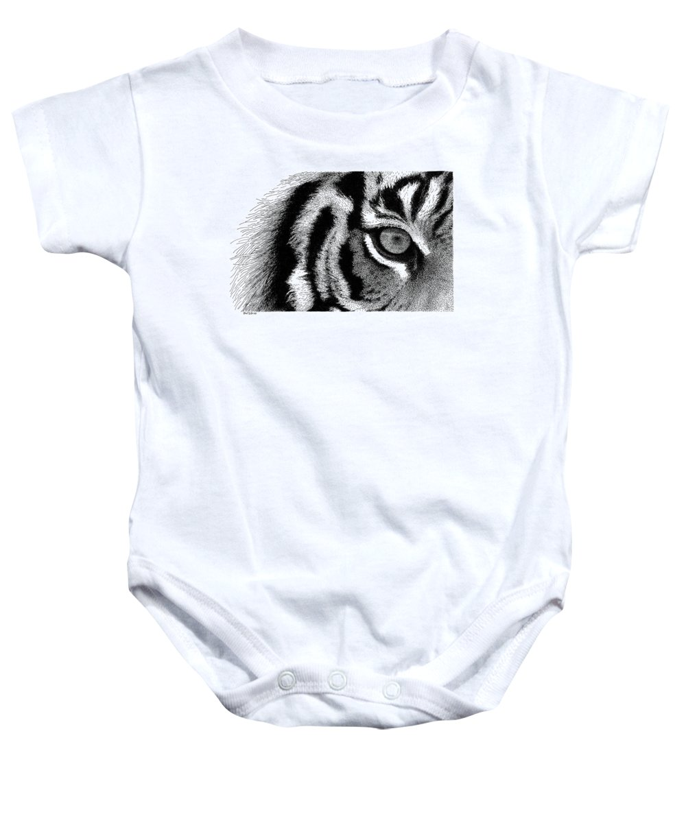 eye Of The Tiger Baby Onesie featuring the drawing Eye Of The Tiger by Scott Woyak