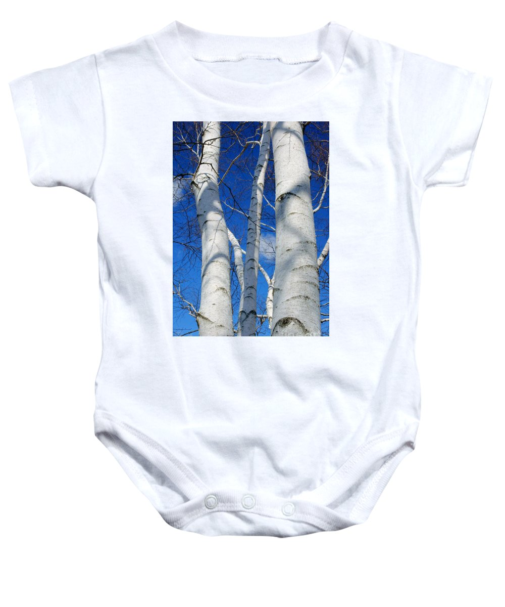 Eyes Of Birch Baby Onesie featuring the photograph Eyes Of Birch by Cj Mainor