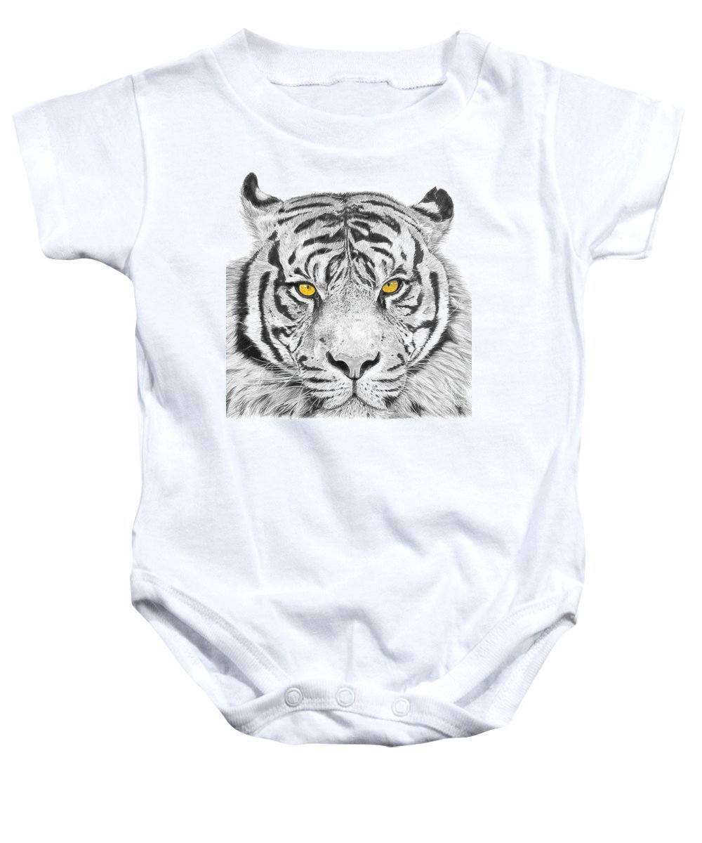 Tiger Baby Onesie featuring the drawing Eyes Of The Tiger by Shawn Stallings