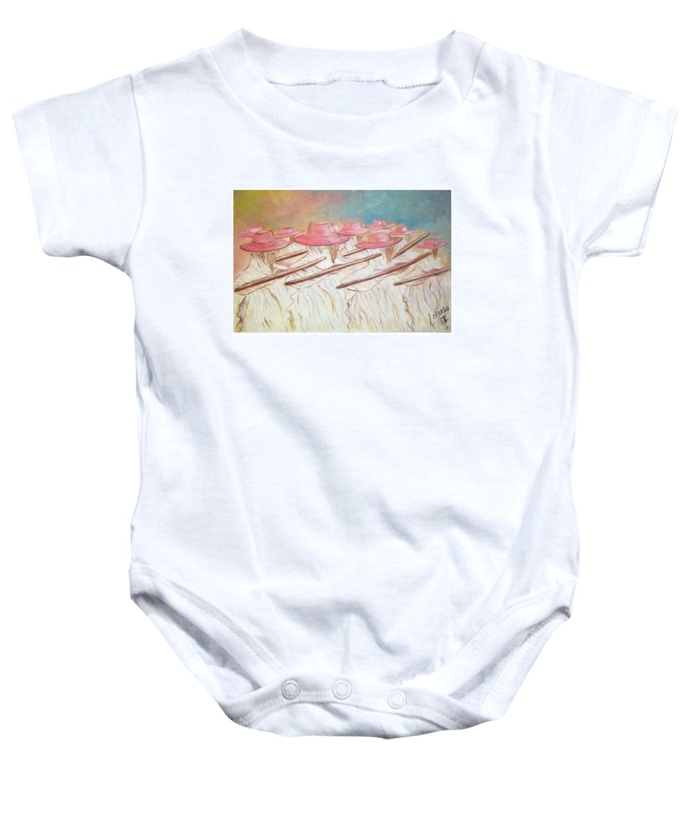 Abstract Baby Onesie featuring the painting Eyo Festival by Olaoluwa Smith