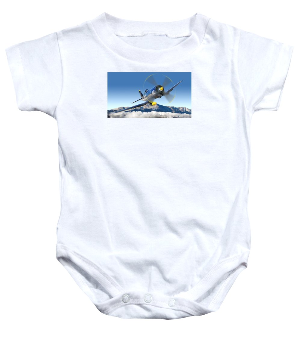 F4-u Corsair Baby Onesie featuring the photograph F4-u Corsair by Larry McManus