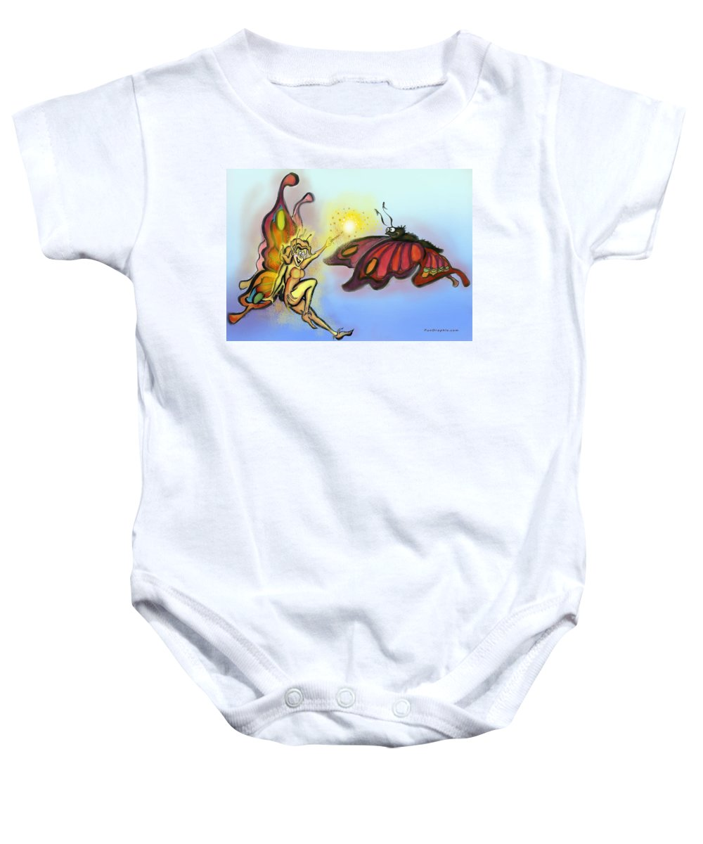 Faerie Baby Onesie featuring the painting Faerie N Butterfly by Kevin Middleton