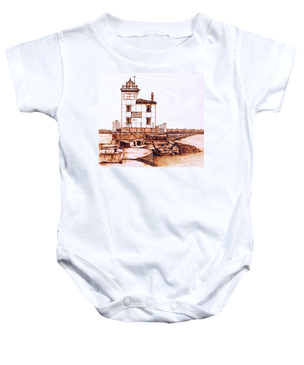 Lighthouse Baby Onesie featuring the pyrography Fair Port Harbor by Danette Smith