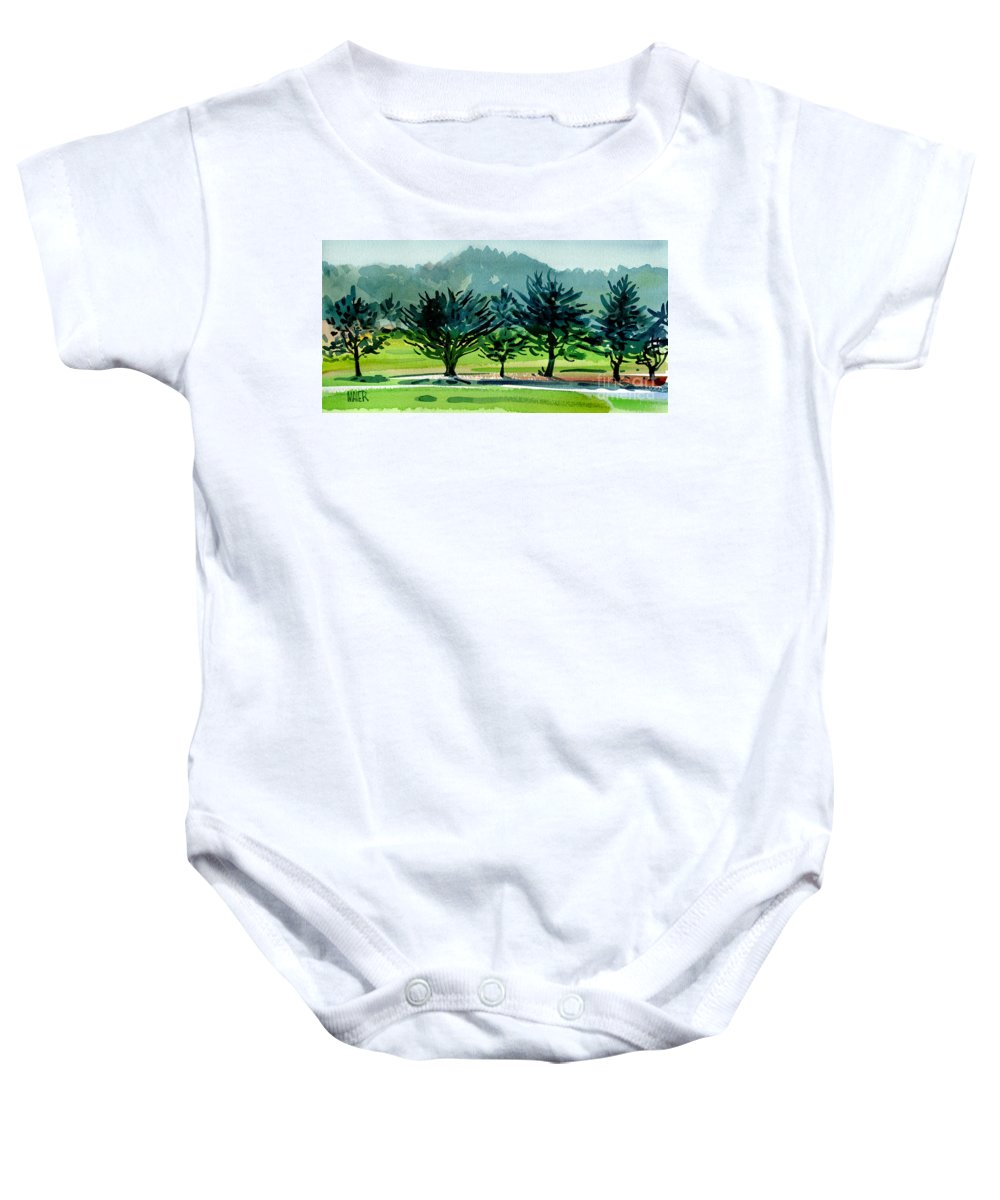 Crystal Springs Baby Onesie featuring the painting Fairway Junipers by Donald Maier