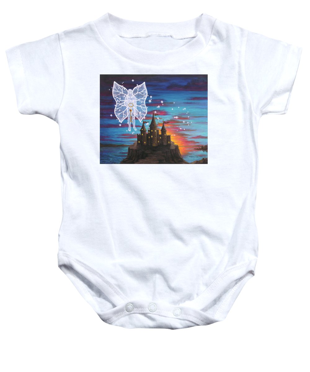 Fantasy Baby Onesie featuring the painting Fairy Takes The Key by Roz Eve