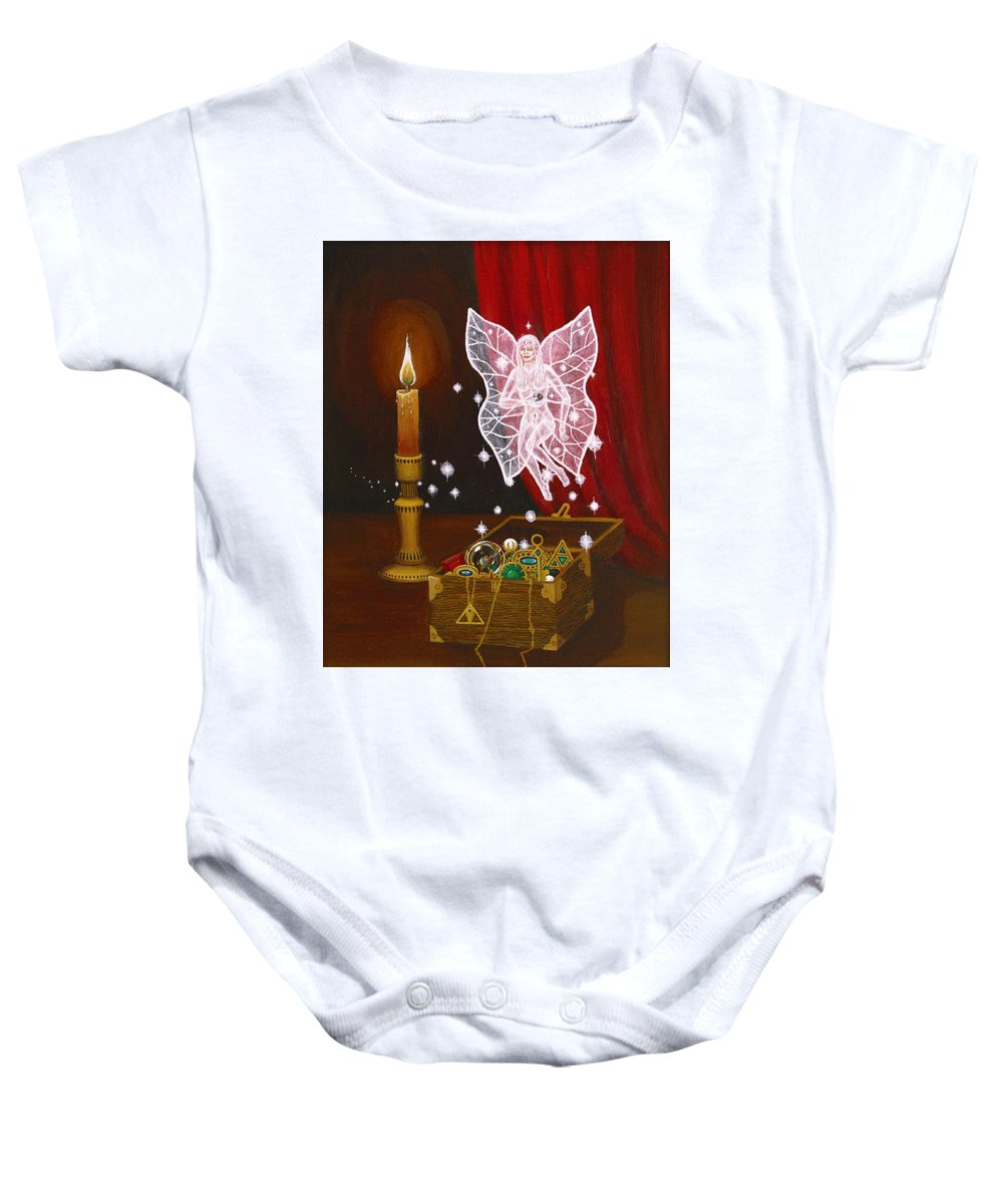 Fairy Baby Onesie featuring the painting Fairy Treasure by Roz Eve