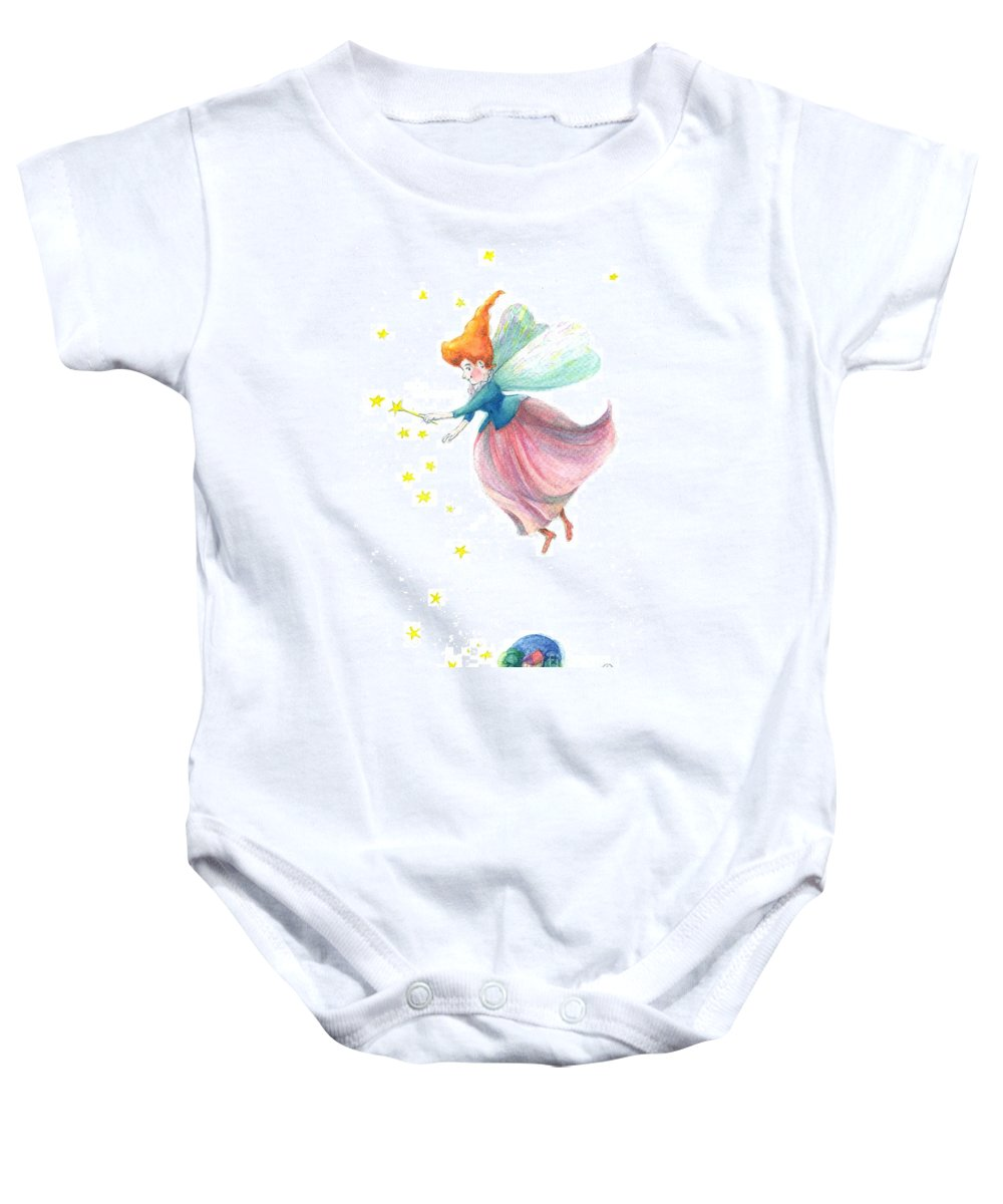 Fairy Baby Onesie featuring the painting Fairy by Ursula Koehrer