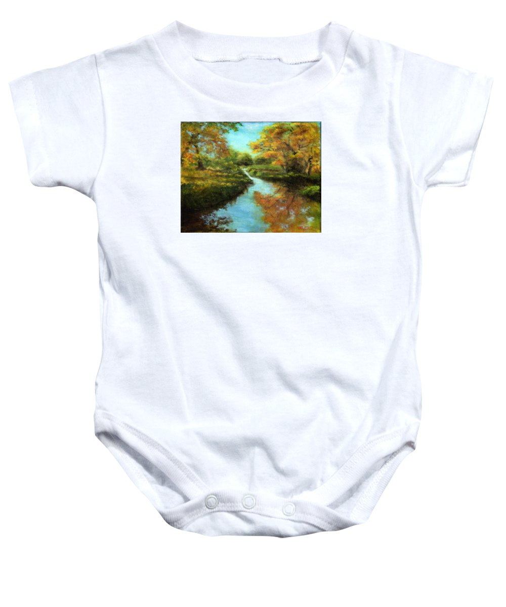 Landscape Baby Onesie featuring the painting Fall Colors by Mark Eckley