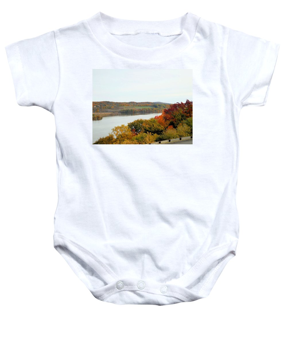 Fall Foliage In Hudson River Baby Onesie featuring the painting Fall Foliage In Hudson River 5 by Jeelan Clark