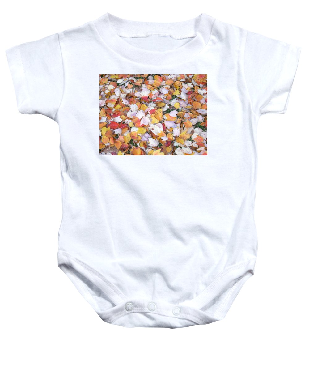 Photography Fall Autum Leaves Baby Onesie featuring the photograph Fallen Fantasy by Karin Dawn Kelshall- Best