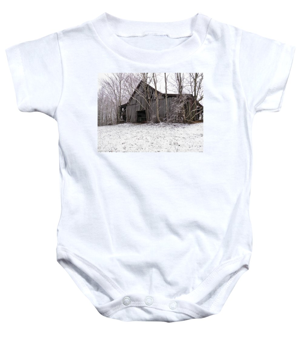 Barn Baby Onesie featuring the photograph Falling Barn by Nick Kirby