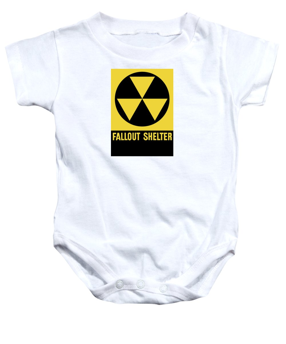 Fallout Shelter Baby Onesie featuring the mixed media Fallout Shelter Sign by War Is Hell Store