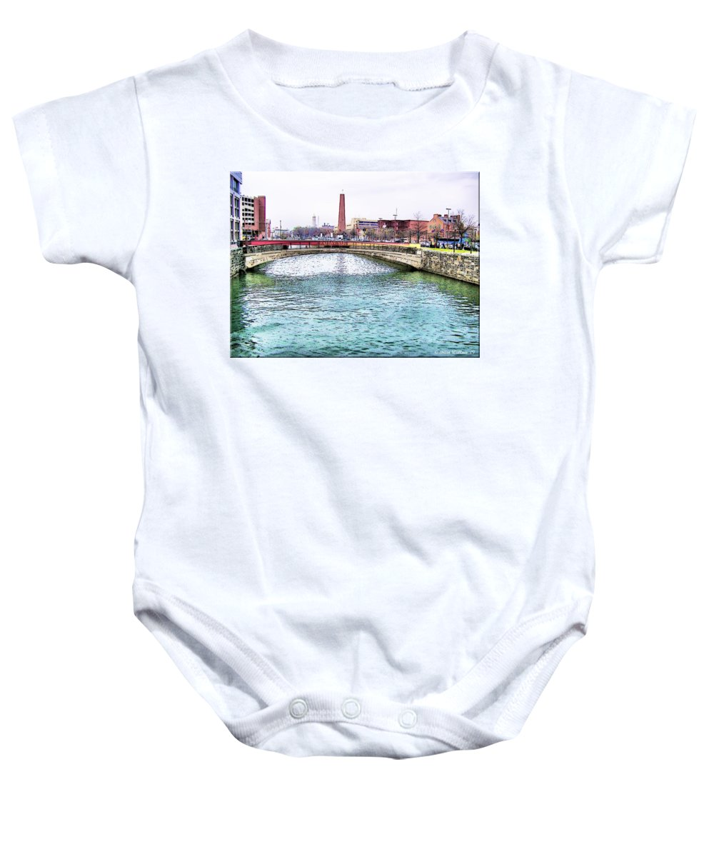 2d Baby Onesie featuring the photograph Fallswalk And Shot Tower by Brian Wallace