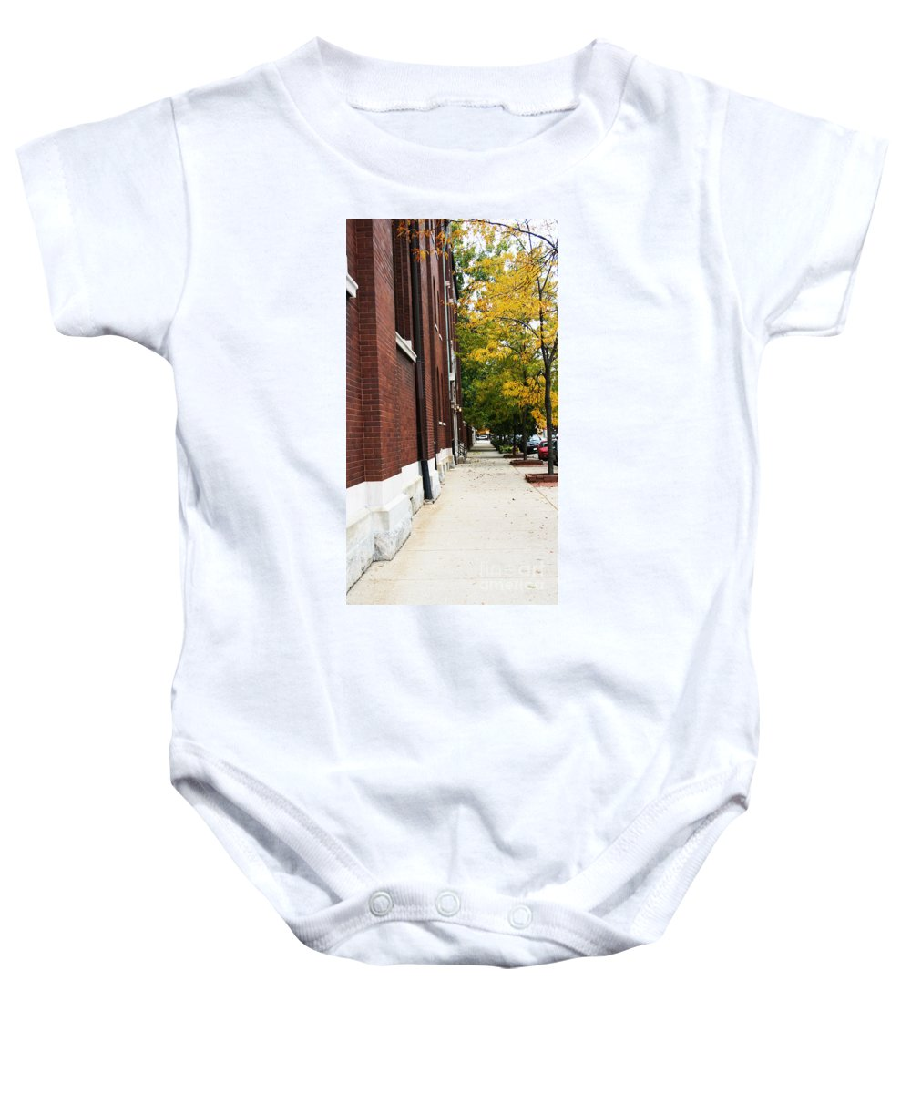 Chicago Baby Onesie featuring the digital art Familair Streets To An Old Women by Jamie Lynn