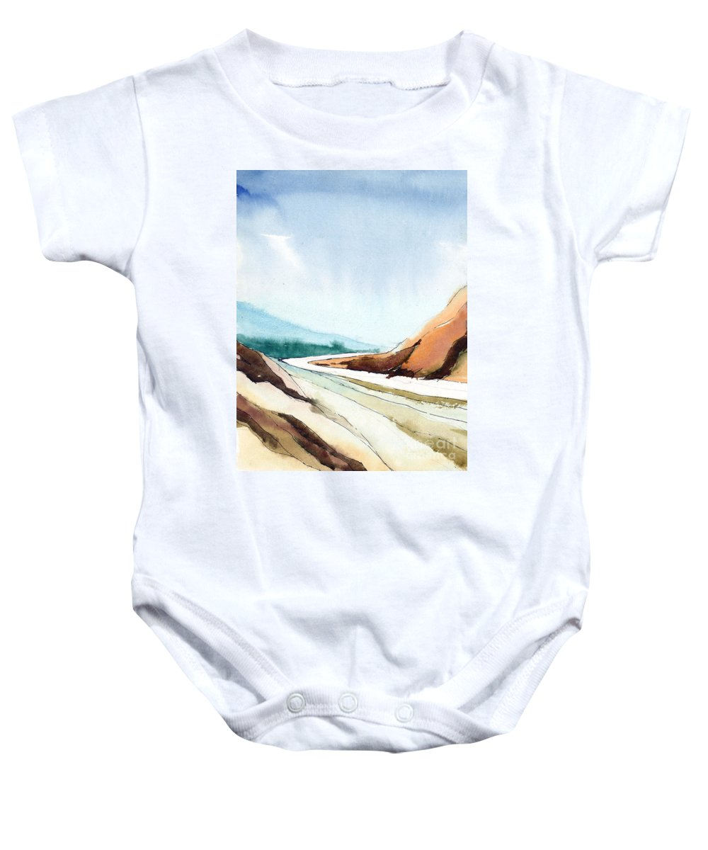 Landscape Baby Onesie featuring the painting Far Away by Anil Nene