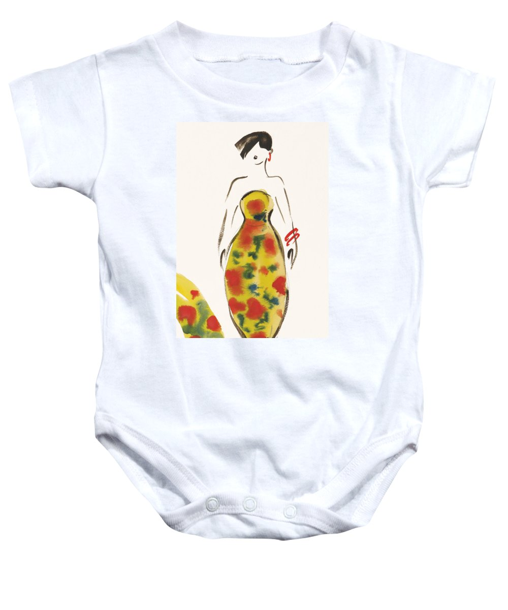 Watercolour Baby Onesie featuring the painting Fashion Iv by Susan Adams