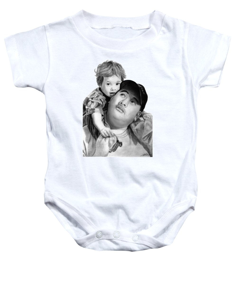 Father And Son Baby Onesie featuring the drawing Father And Son by Peter Piatt