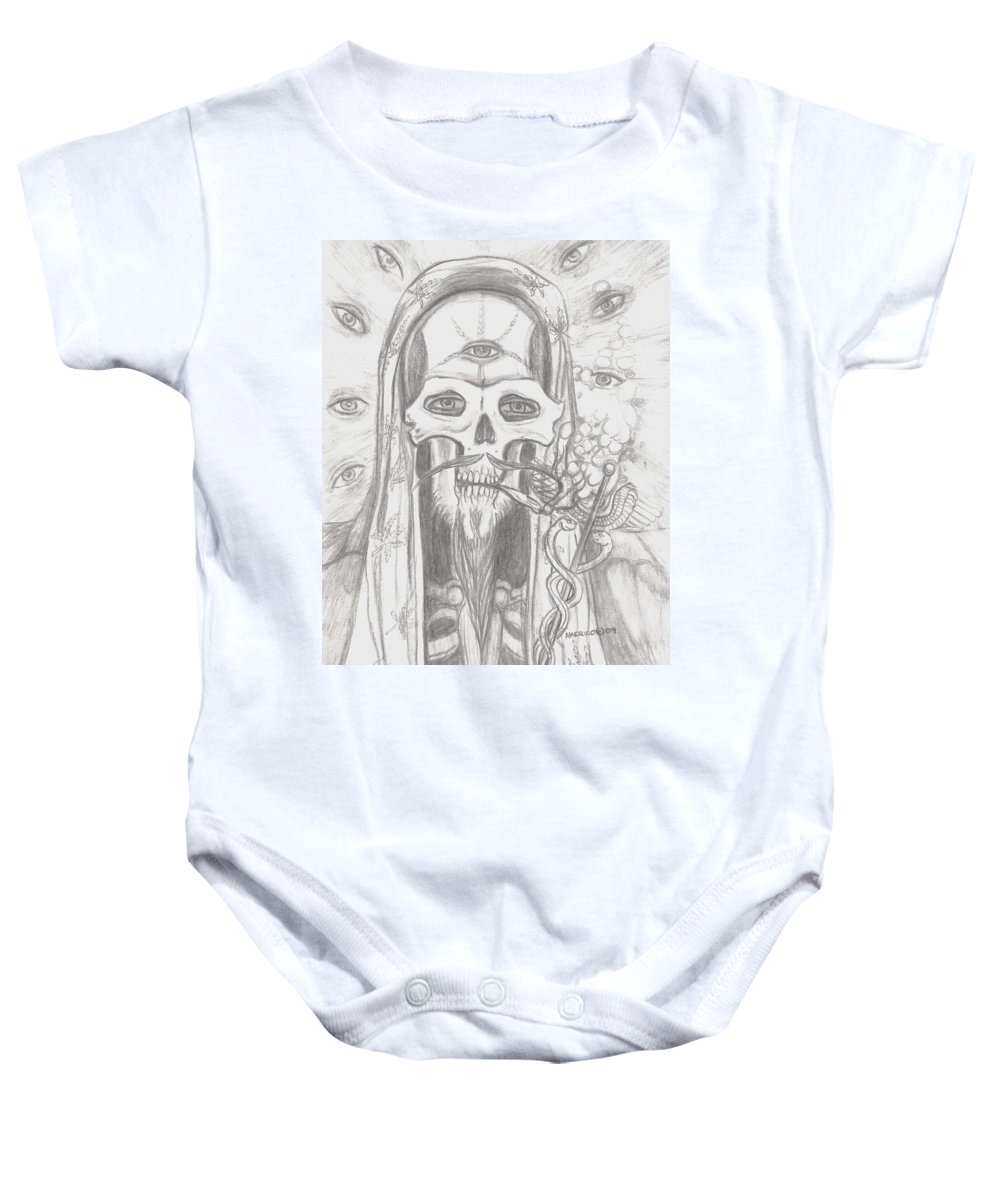 Skeleton.eyes Baby Onesie featuring the drawing Father Health And Wisdom by Americo Salazar