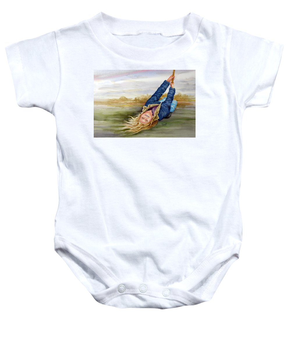 Seing Baby Onesie featuring the painting Feelin The Wind by Sam Sidders