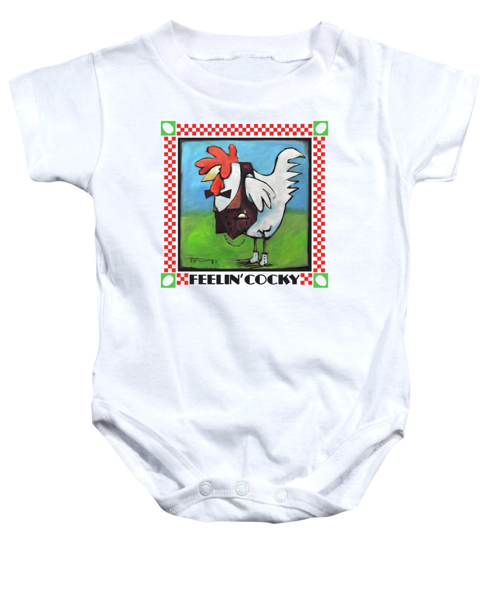 Chicken Baby Onesie featuring the painting Feeling Cocky Poster by Tim Nyberg