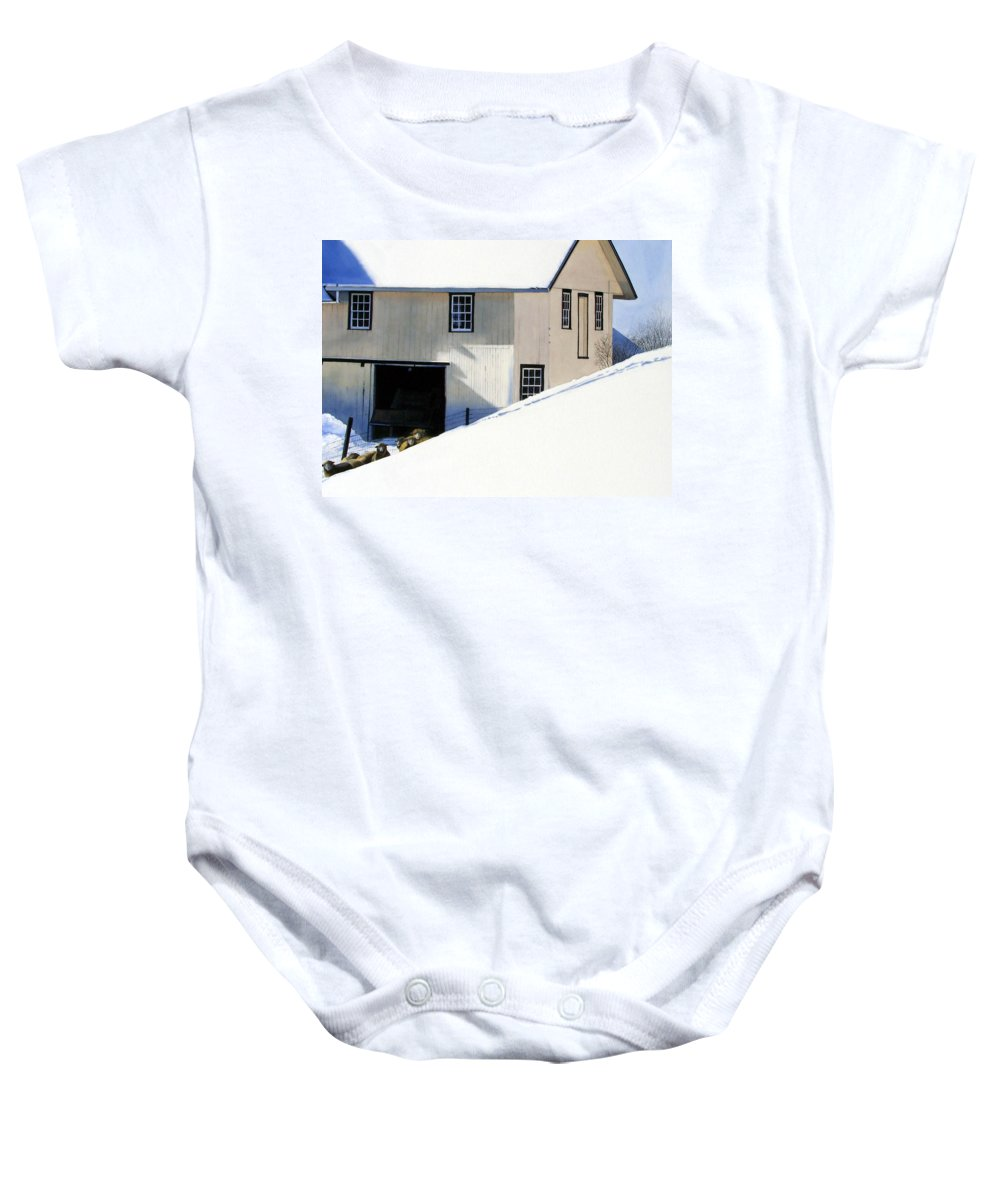Barn Baby Onesie featuring the painting Fenced In by Denny Bond