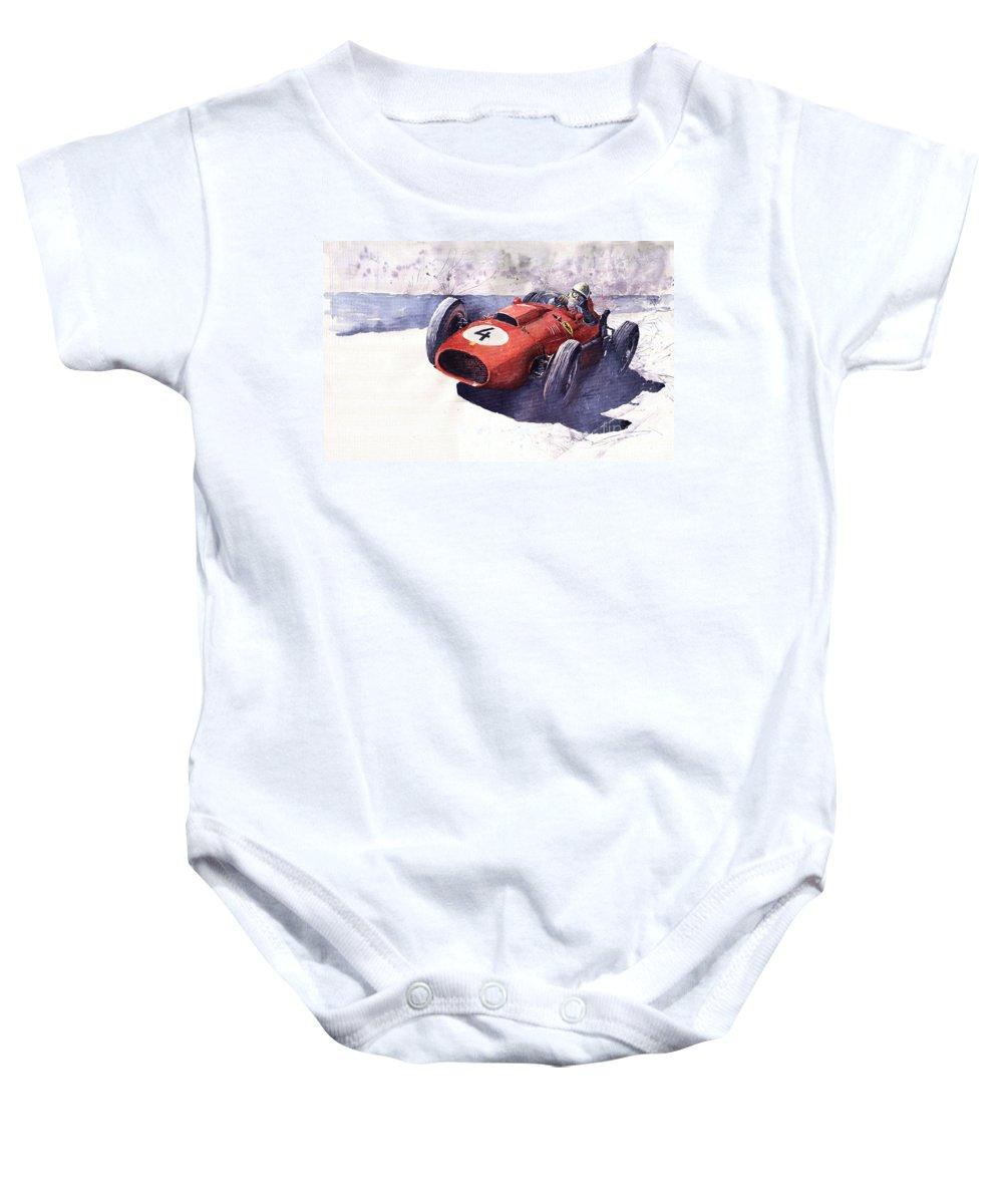 Watercolour Baby Onesie featuring the painting Ferrari 246 Mike Hawthorn by Yuriy Shevchuk