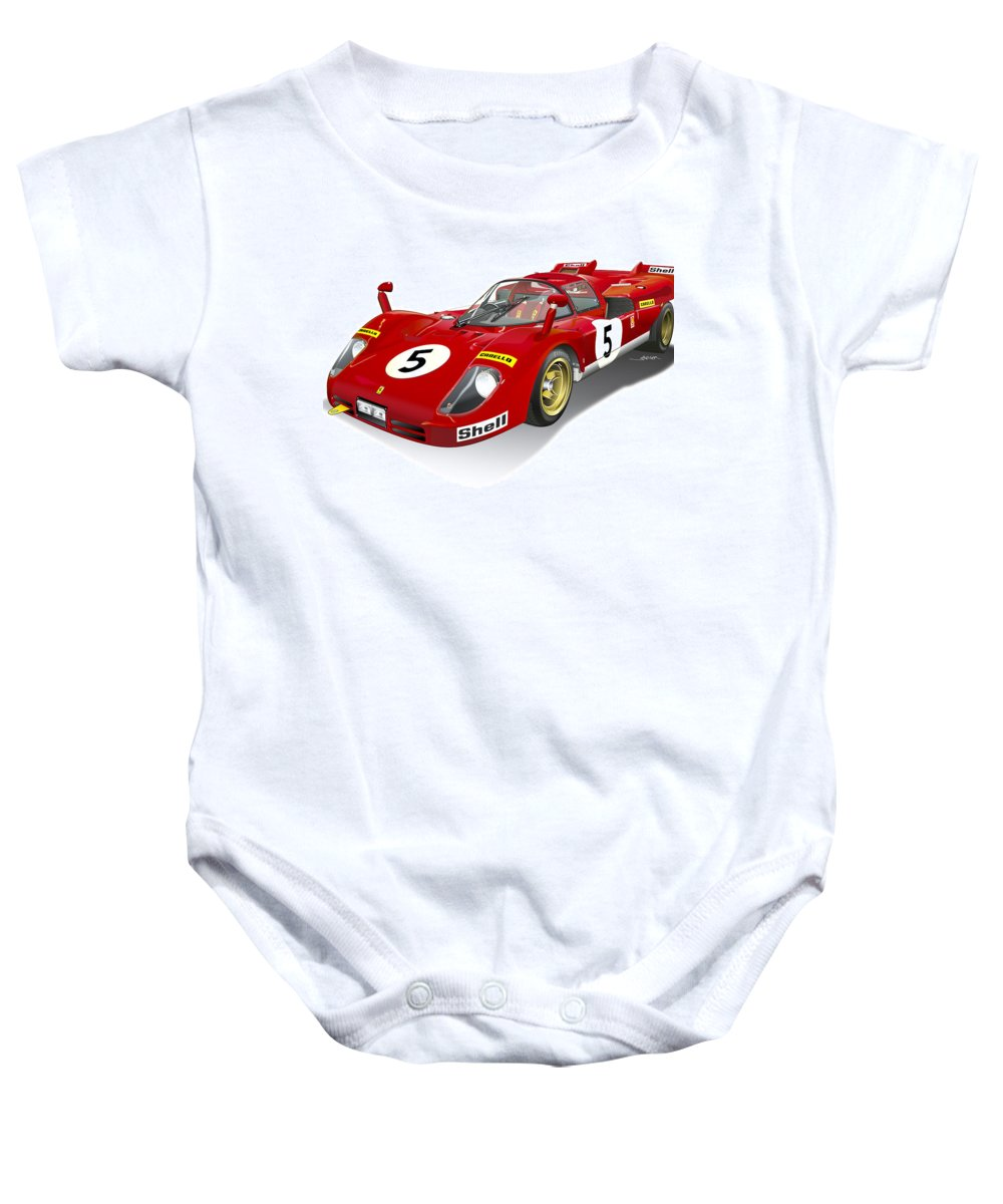 Ferrari 512 Illustration Baby Onesie featuring the digital art Ferrari 512 Illustration by Alain Jamar