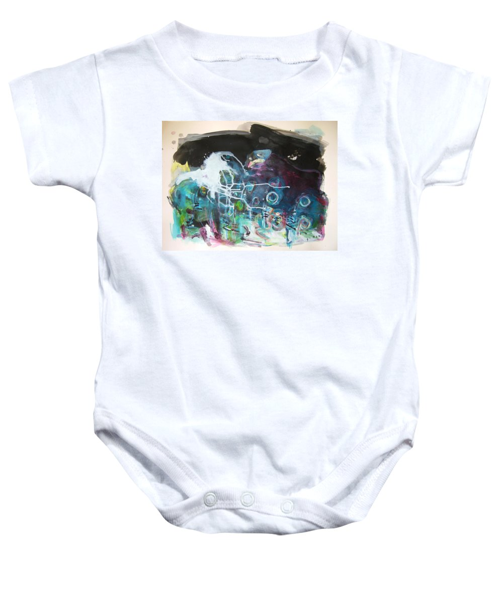 Fiddleheads Paintings Baby Onesie featuring the painting Fiddleheads 300 by Seon-Jeong Kim