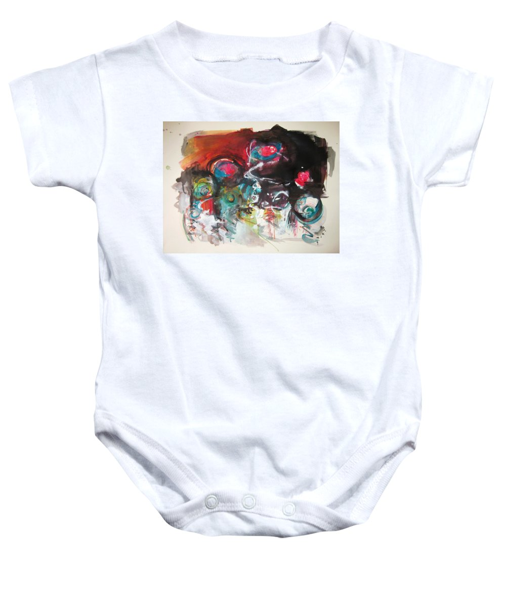 Fiddleheads Paintings Baby Onesie featuring the painting Fiddleheads- Landscape Painting For Sale Red Blue Green by Seon-Jeong Kim