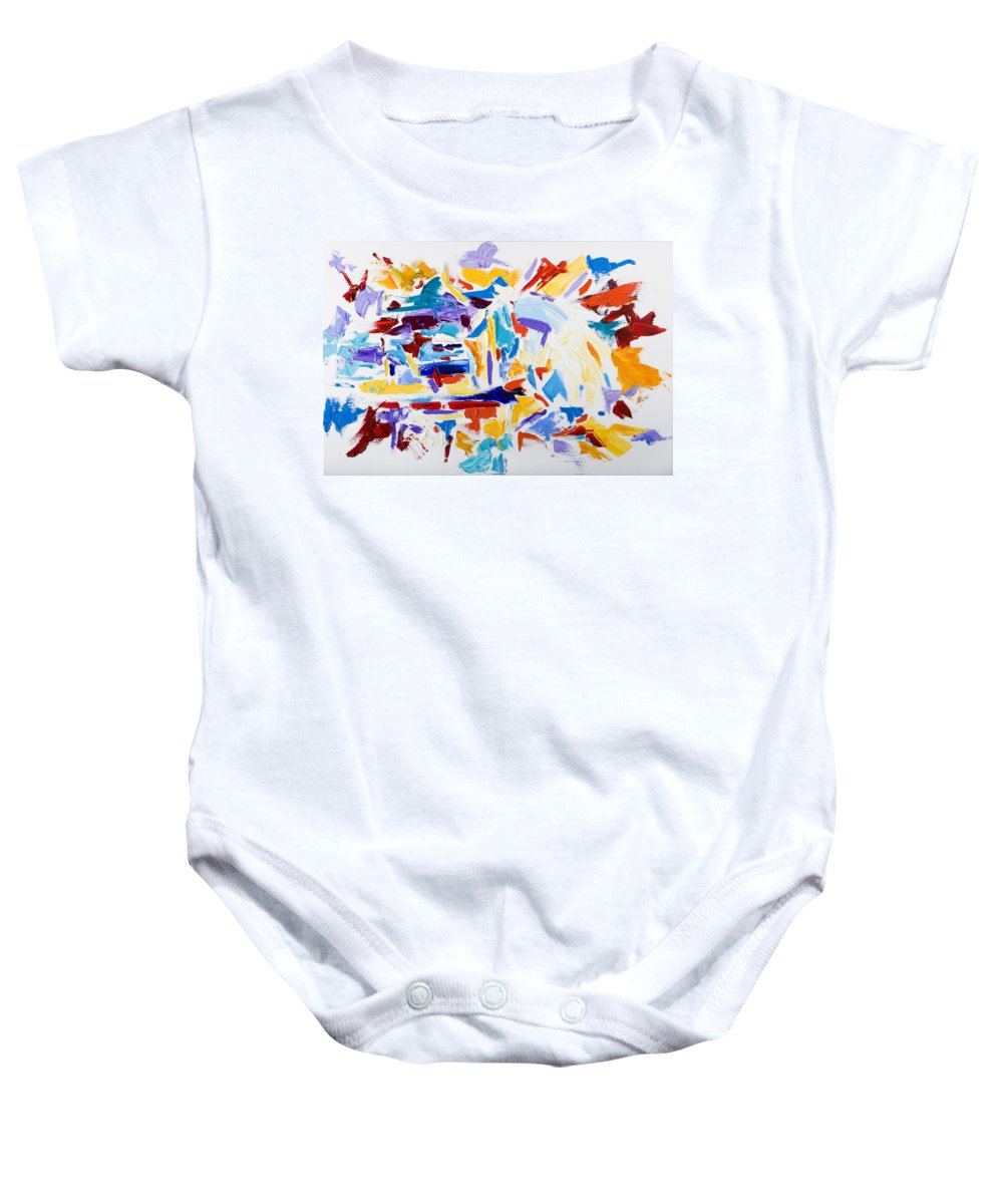 Abstract Yellow Baby Onesie featuring the painting Fiesta by Shannon Grissom