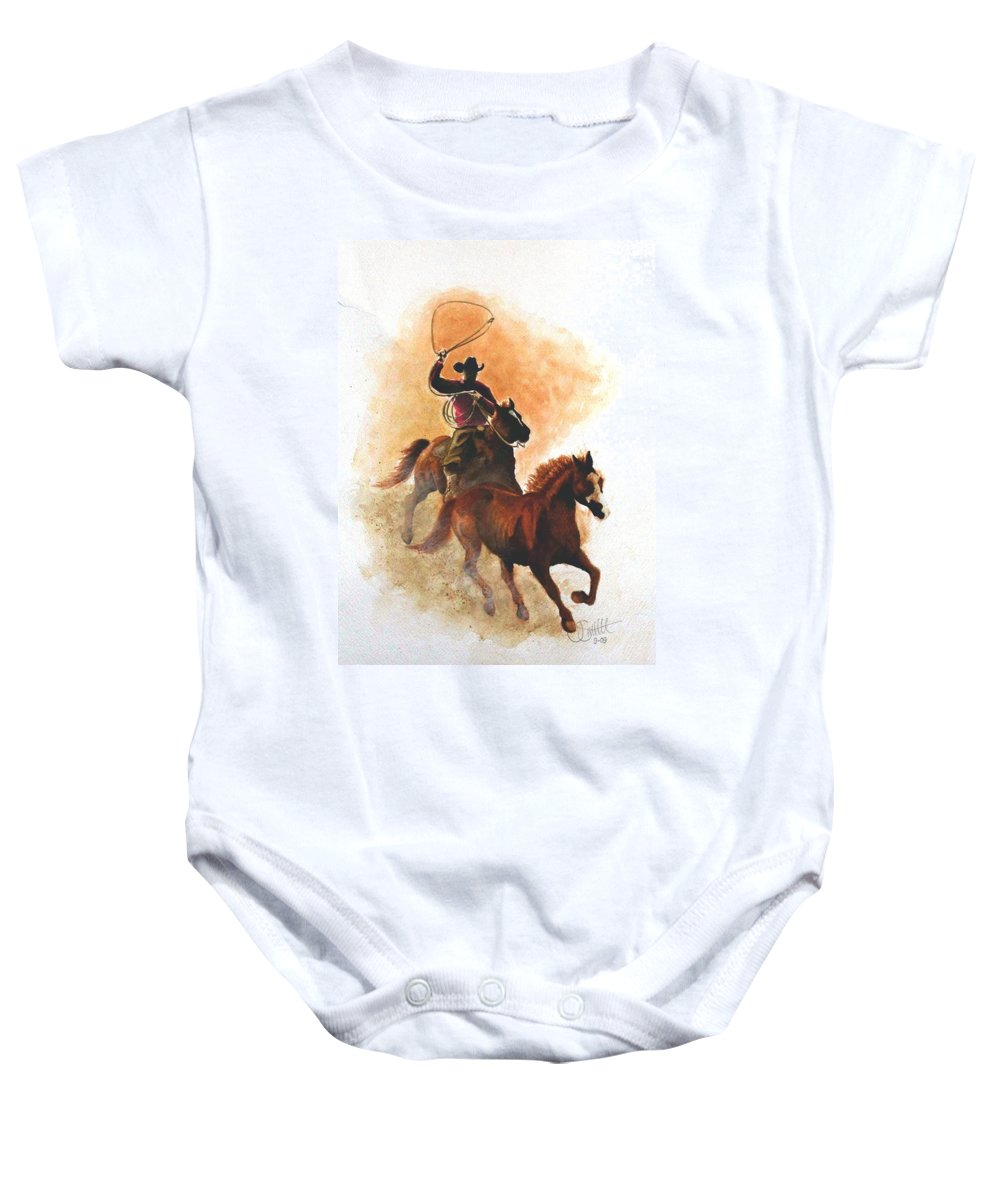Western Baby Onesie featuring the painting Fighting For Freedom by Jimmy Smith