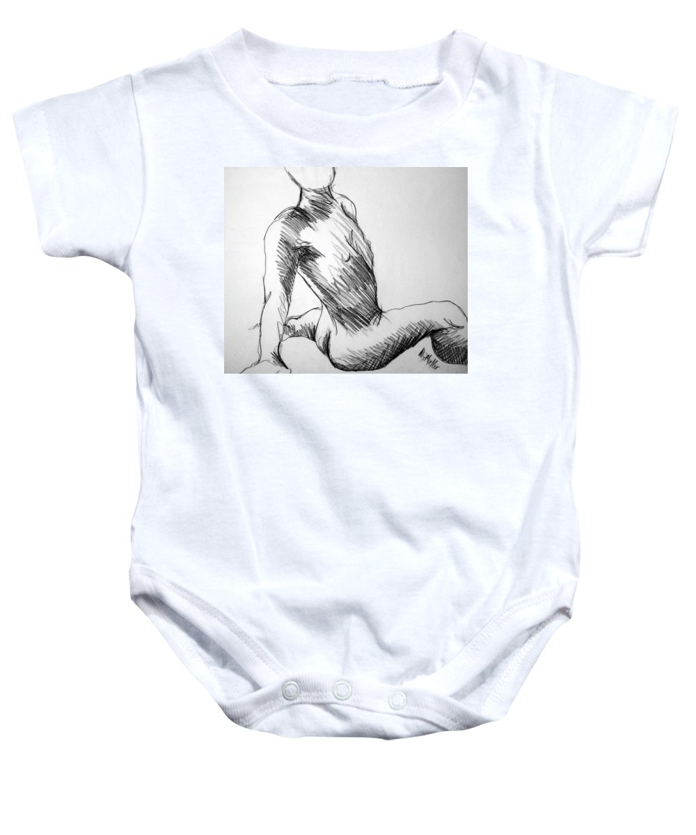 Figure Baby Onesie featuring the drawing Figure Drawing 1 by Nancy Mueller