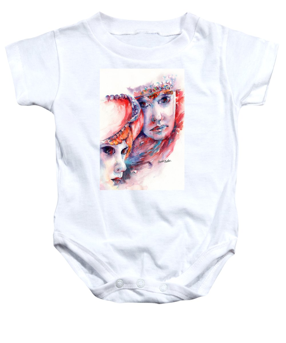 Mask Baby Onesie featuring the painting Fire And Ice by Stephie Butler