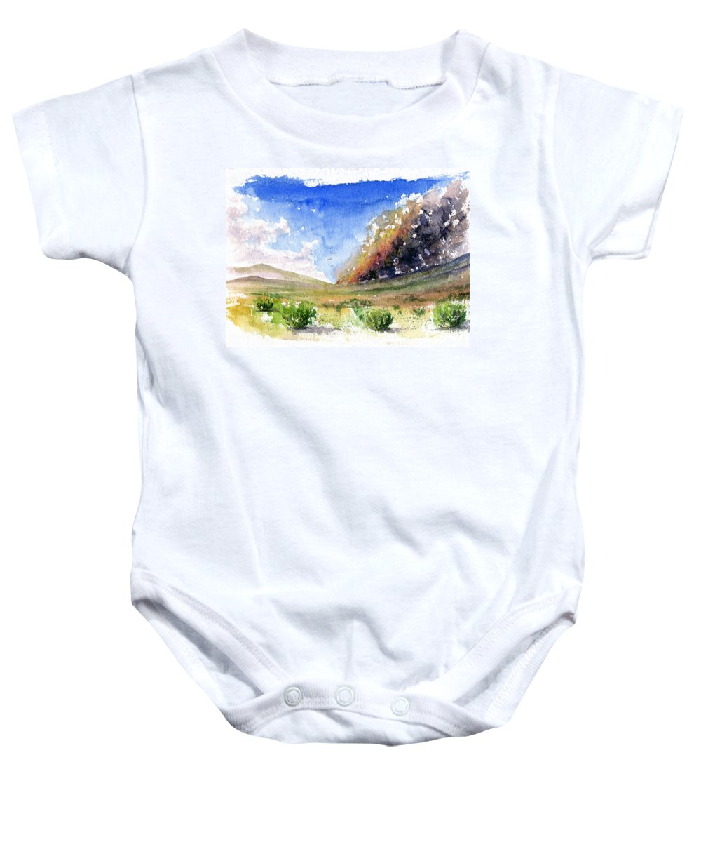 Fire Baby Onesie featuring the painting Fire In The Desert 1 by John D Benson