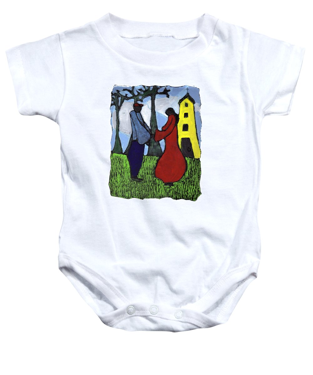 Love Baby Onesie featuring the painting First Love by Wayne Potrafka
