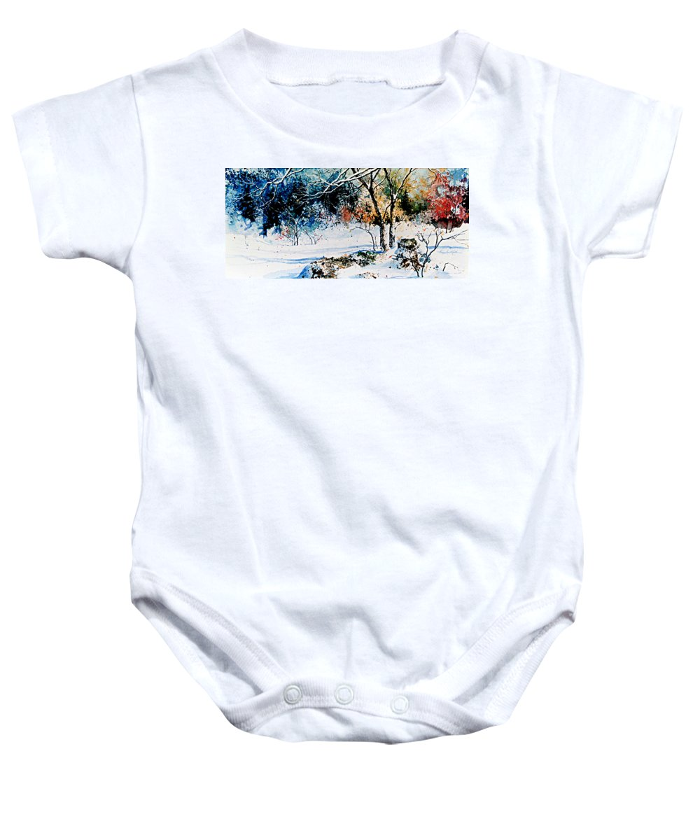 Snow Baby Onesie featuring the painting First Snowfall by Hanne Lore Koehler