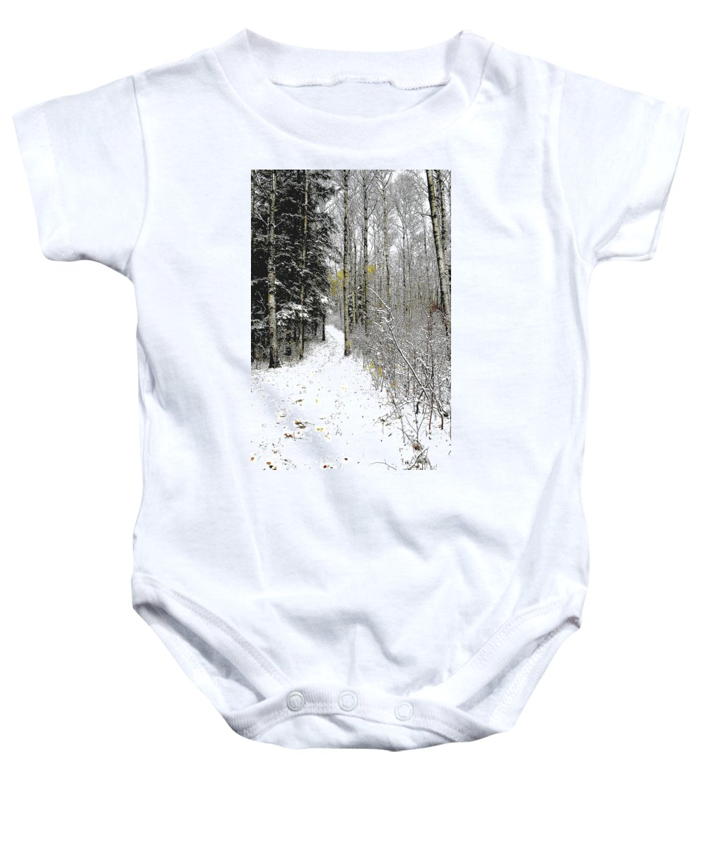 Winter Baby Onesie featuring the photograph First Snowfall by Nelson Strong
