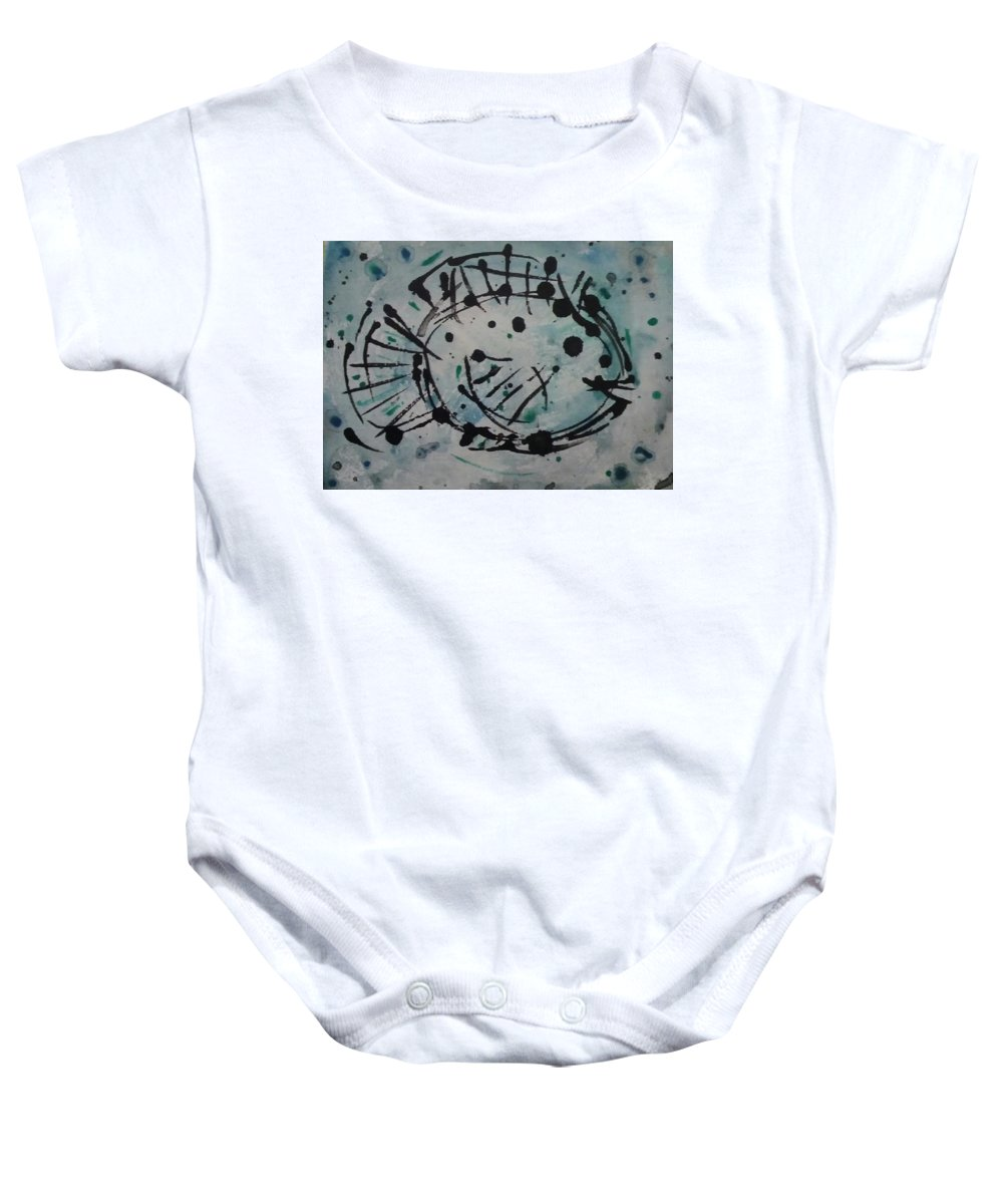 Fish Baby Onesie featuring the painting Fish by Estella Mendez