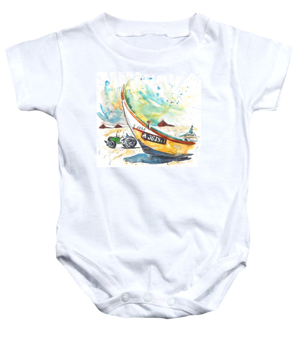 Portugal Baby Onesie featuring the painting Fisherboat In Praia De Mira by Miki De Goodaboom